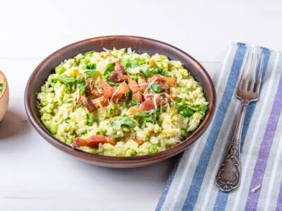 Risotto agli spinaci con dadini di provola e prosciutto crudo