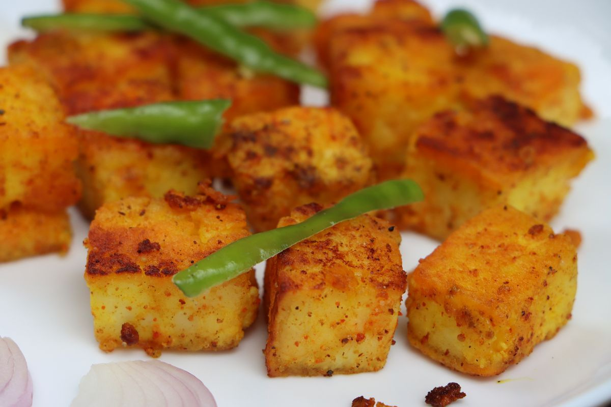 Tofu croccante con fagiolini
