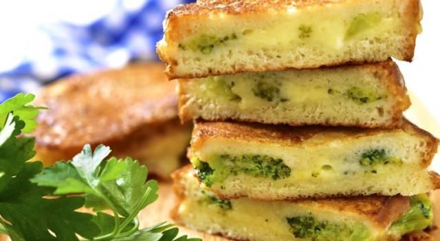 Focaccia di patate ripiena di broccoli e fontina