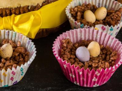 Nidi di Pasqua al riso soffiato e cioccolato