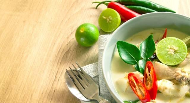 Zuppa thai vegetariana con latte di cocco (Tom Yum Goong)