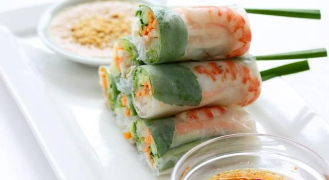 Involtini vietnamiti con gamberi e manzo: Goi Cuon