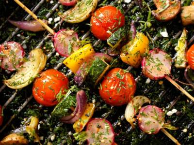 Spiedini di verdure grigliate con emulsione aromatica