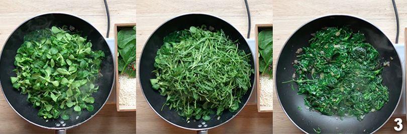 Preparazione del risotto con spinaci 3
