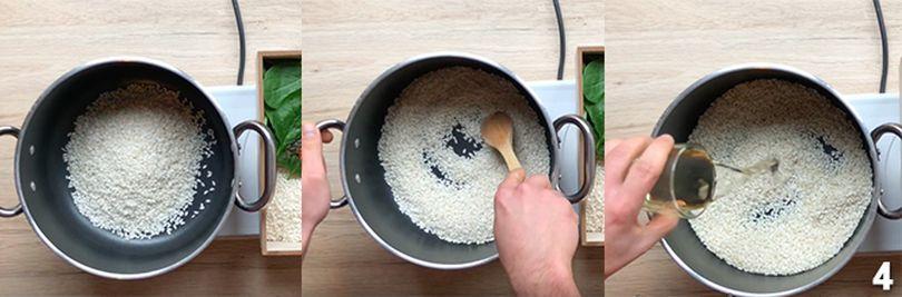 Preparazione del risotto con spinaci 4