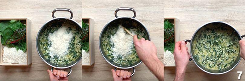 Preparazione del risotto con spinaci 7