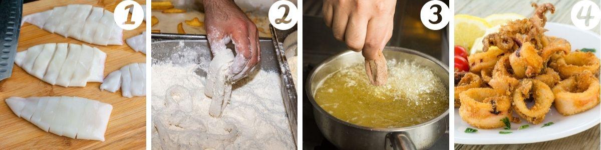 preparazione dei calamari fritti