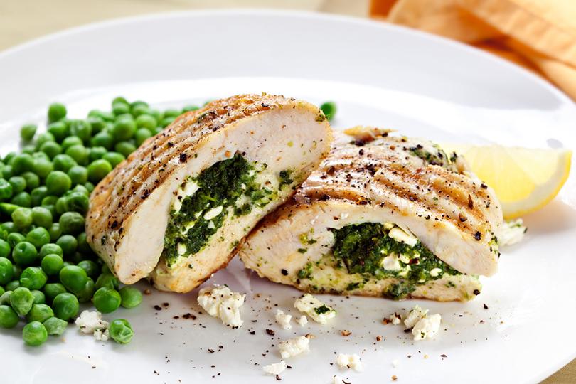 Petto di pollo ripieno di spinaci e feta