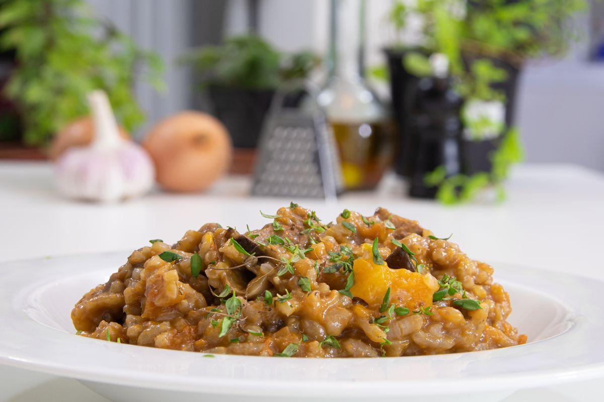 risotto con funghi, zucca e castagne