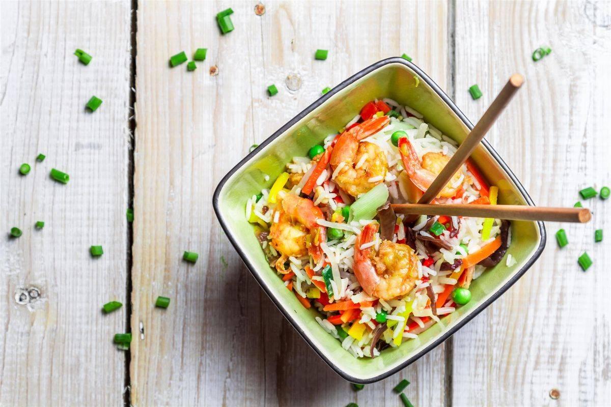 riso gamberi e verdure