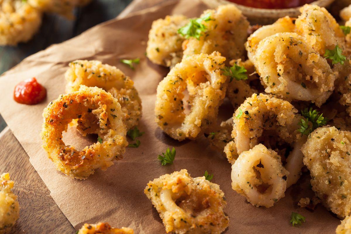 Anelli di calamari impanati