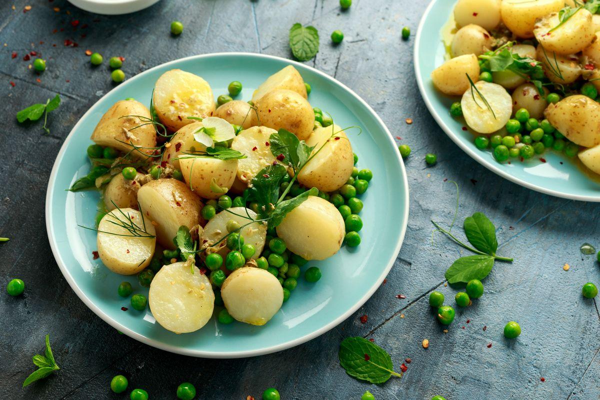 patate cremose con piselli