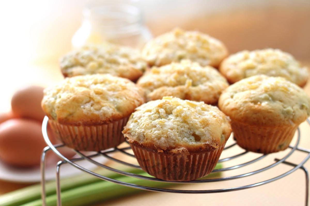 Muffin zenzero rabarbaro vegani