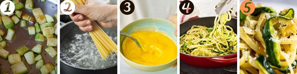 preparazione della carbonara di zucchine