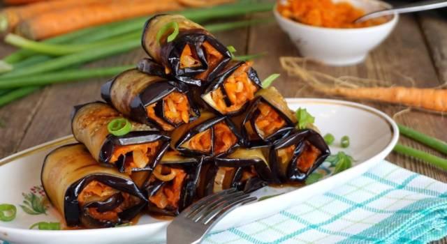 Involtini di melanzane grigliate farciti con mousse di carote