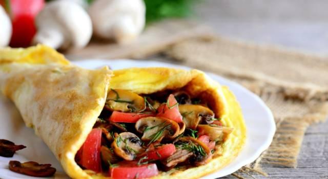 Omelette con funghi trifolati e pomodorini al profumo di aneto: che bontà!