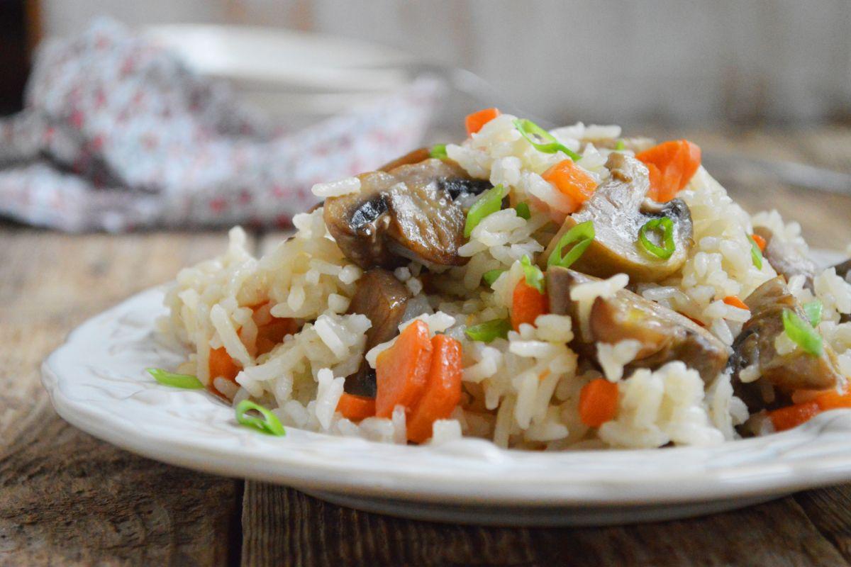 risotto con funghi e carote