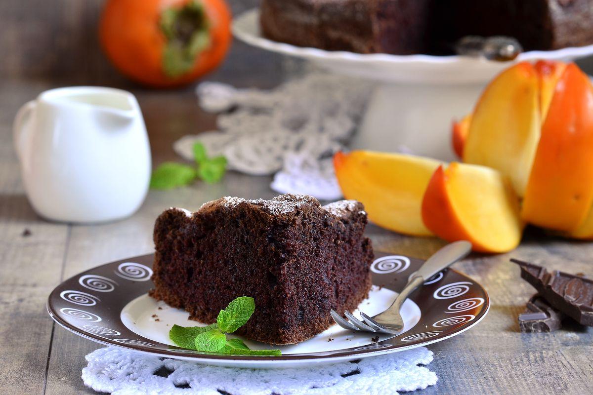 torta di cachi al cioccolato