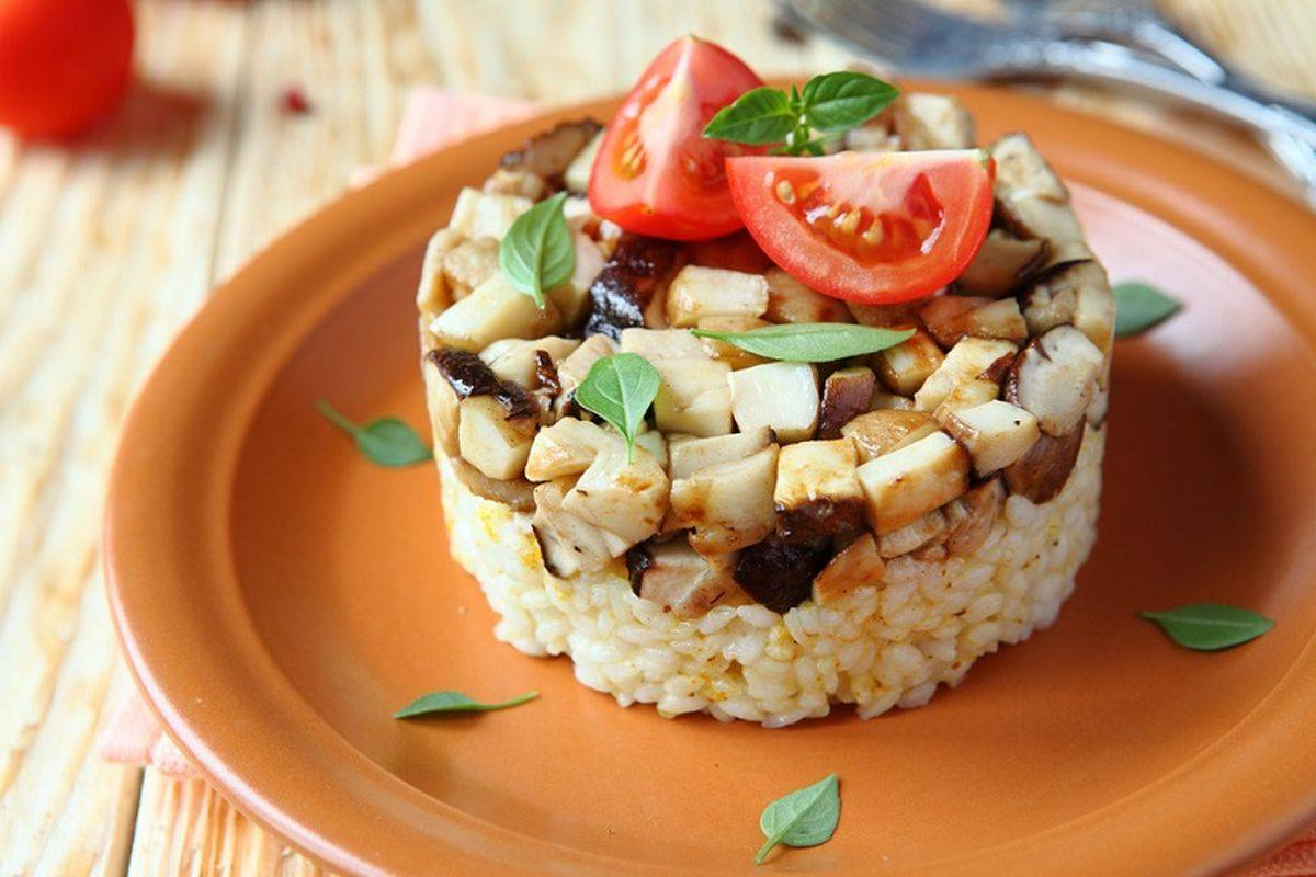 Timballini di riso e funghi