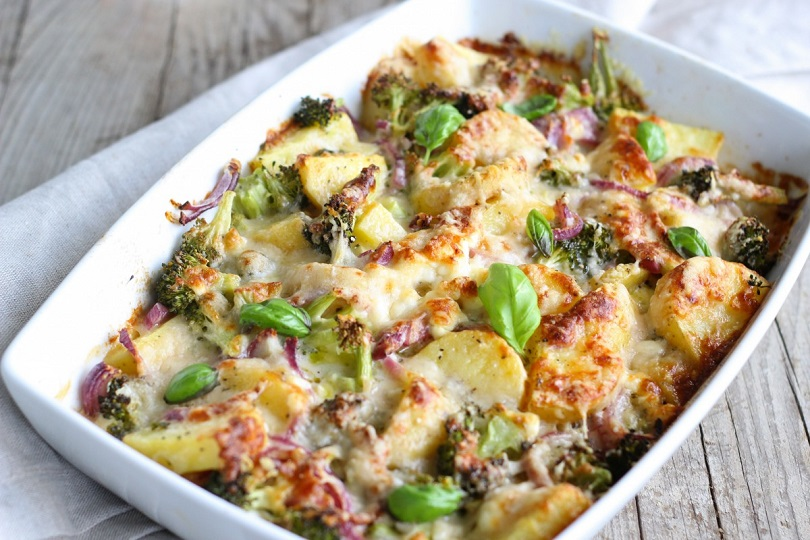 Patate e broccoli in gratin