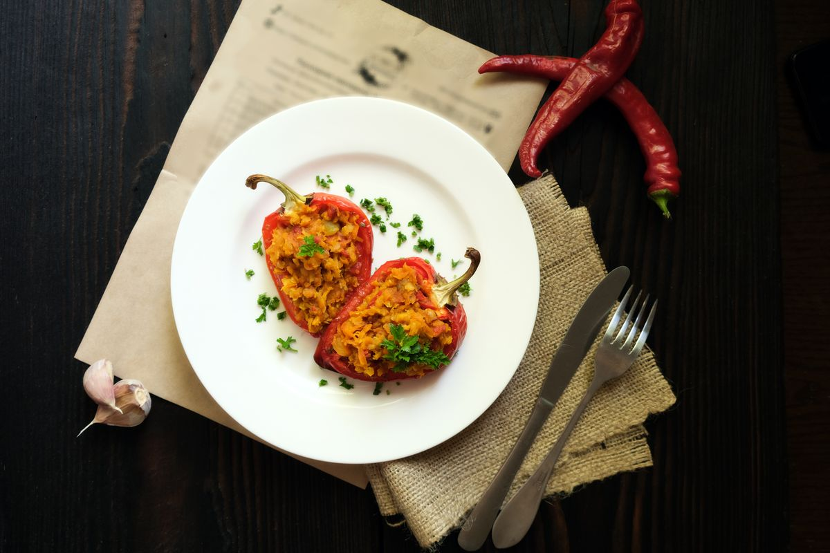 peperoni ripieni vegetariani con lenticchie