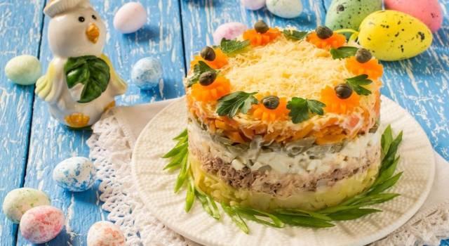 Tortino di insalata capricciosa per l'antipasto di Pasqua