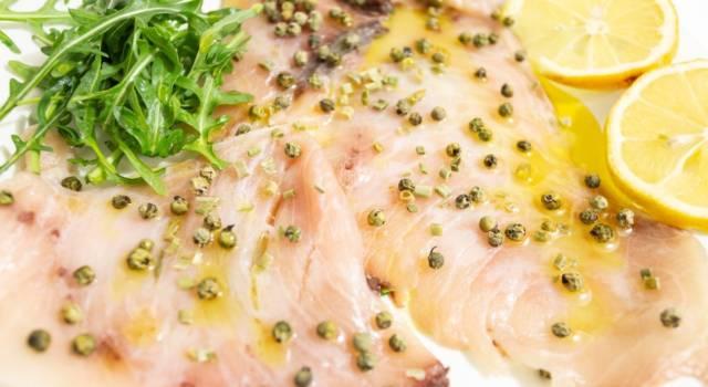Sfizioso carpaccio di pesce spada al pepe verde