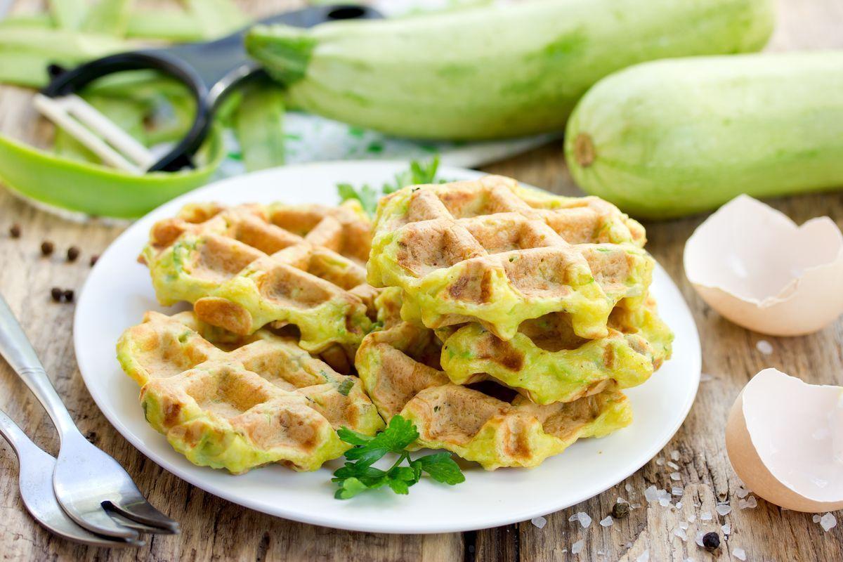 waffle salati con zucchine