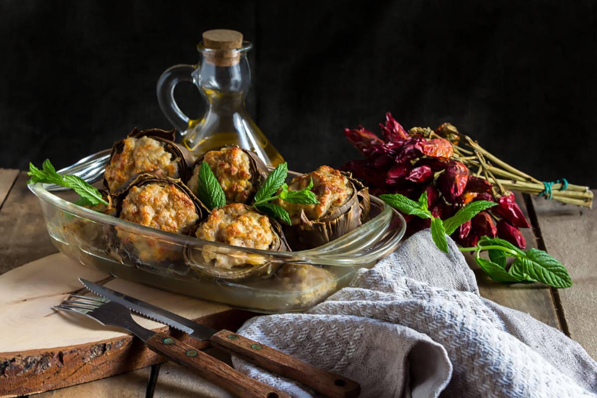 carciofi ripieni di carne al tartufo