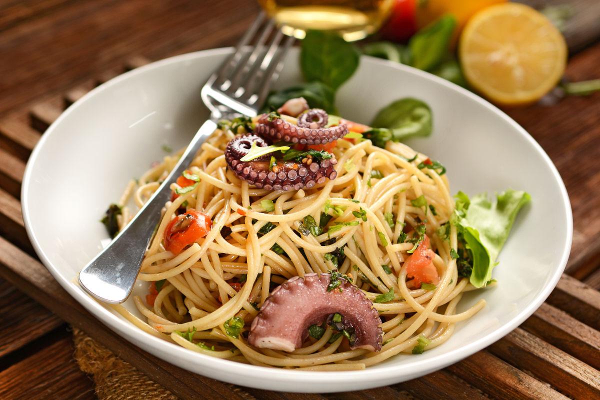Pasta polpo e olive