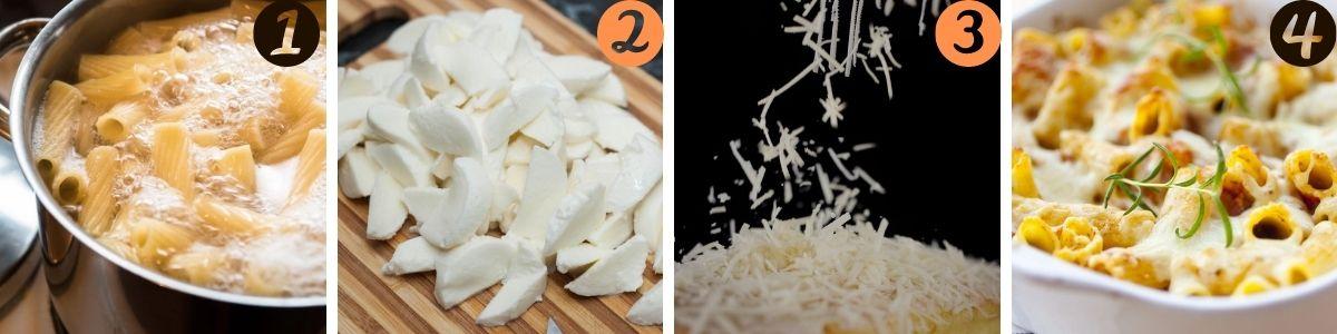 preparazione della pasta al forno bianca