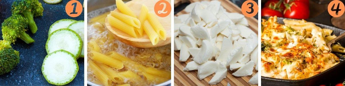 preparazione della pasta al forno vegetariana