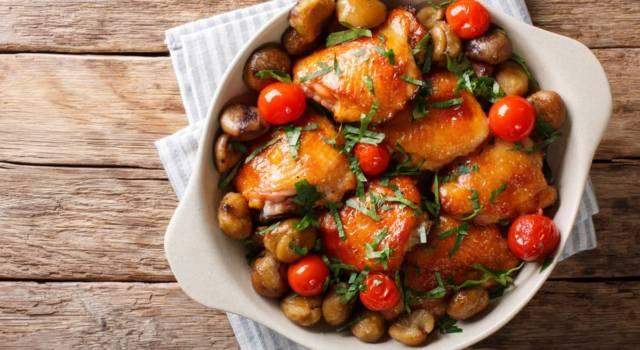 Pollo con castagne al forno: saporito secondo piatto di carne bianca