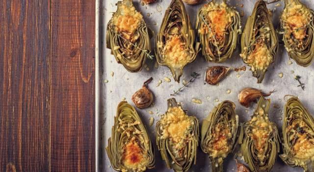Cuori di carciofo al forno con Parmigiano e mentuccia romana