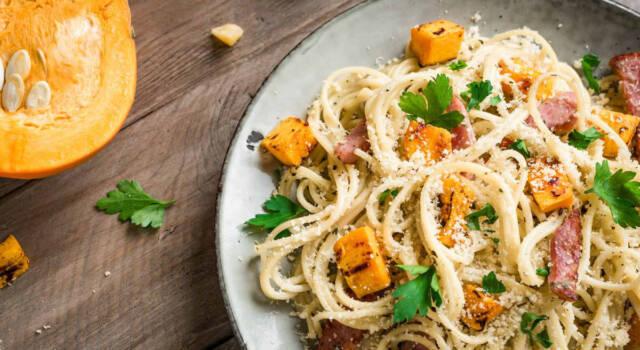 Quanto sapore nella pasta zucca e pancetta